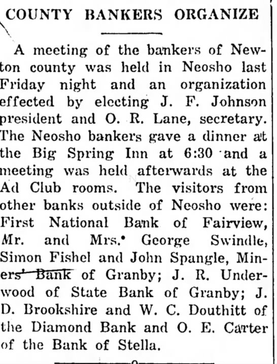 W.C. Douthitt of the Diamond Bank Sep 11, 1924The Neosho Times - A meeting of the bankers of New- on county was...