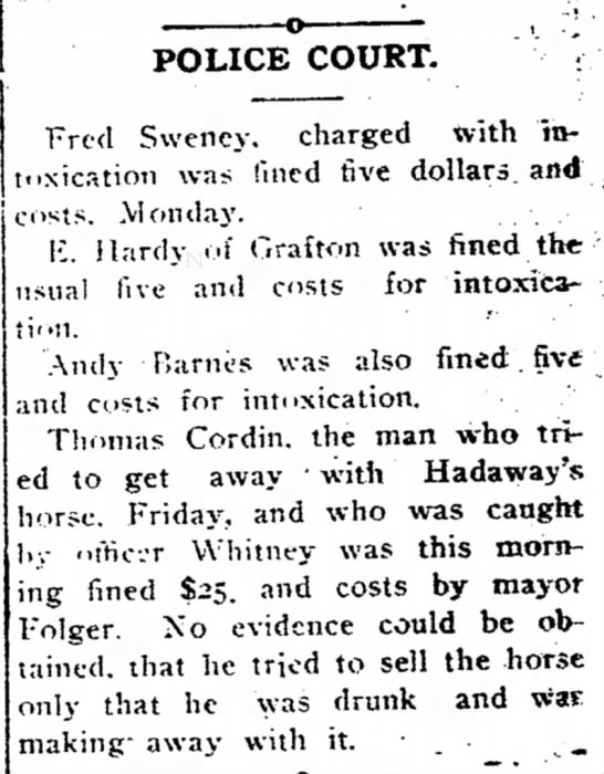 CORDIN, THOMAS - o , ; POLICE COURT. Fred Swency. charged with...