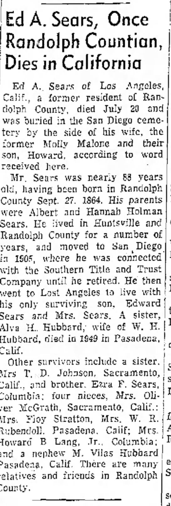 Edward A. Sears Obit