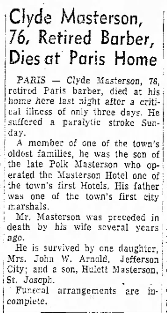 Clyde Masterson, Moberly Monitor-Index (Moberly, MO) 31 Dec 1952