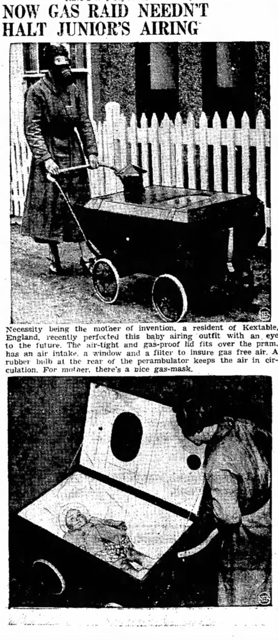 Latest Gas Raid Protection for a nice walk with baby, 1939