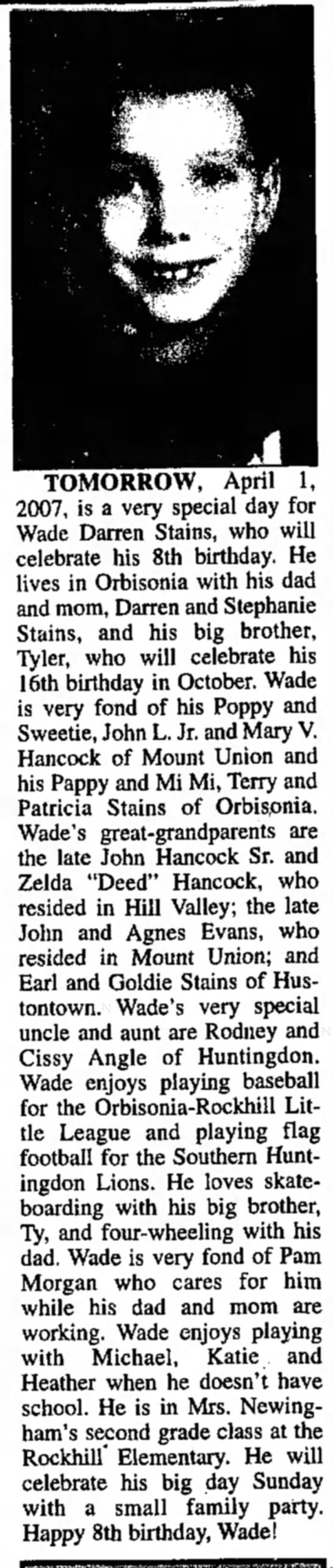 Wade Stains, John L. Hancock's grandson-TDN-p.10-31 March 2007 - | TOMORROW, April 1, 2007, is a very special...