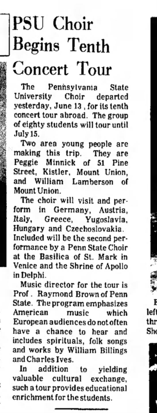 "Margaret ""Peggy"" Minnick-Choir-p.9-TDN-14 June 1974 - PSU Choir Begins Tenth Concert Tour The..."