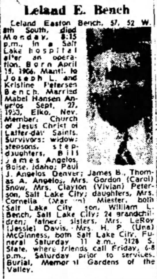 Mabel A. Angelos Bench - Inland E. Bench (-eland Easlon Bench. 57. 52 W....