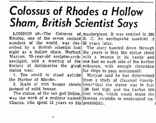 Herbert Maryon on the Colossus of Rhodes, Moberly Monitor-Index, 4 December 1953 - Colossus of Rhodes a Hollow Sham, British...