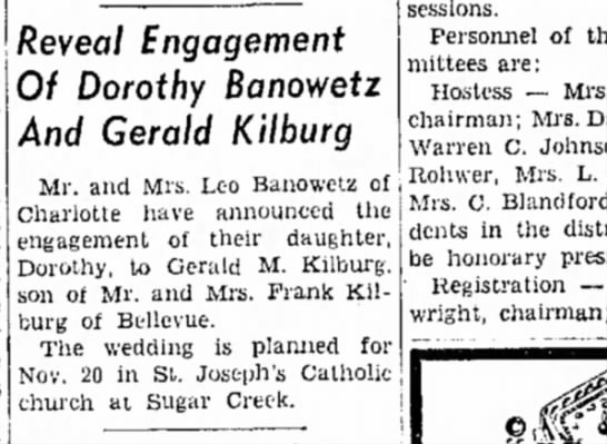 Banowitz-Kilburg - as Reveal Engagement Of Dorothy Banowetz And...