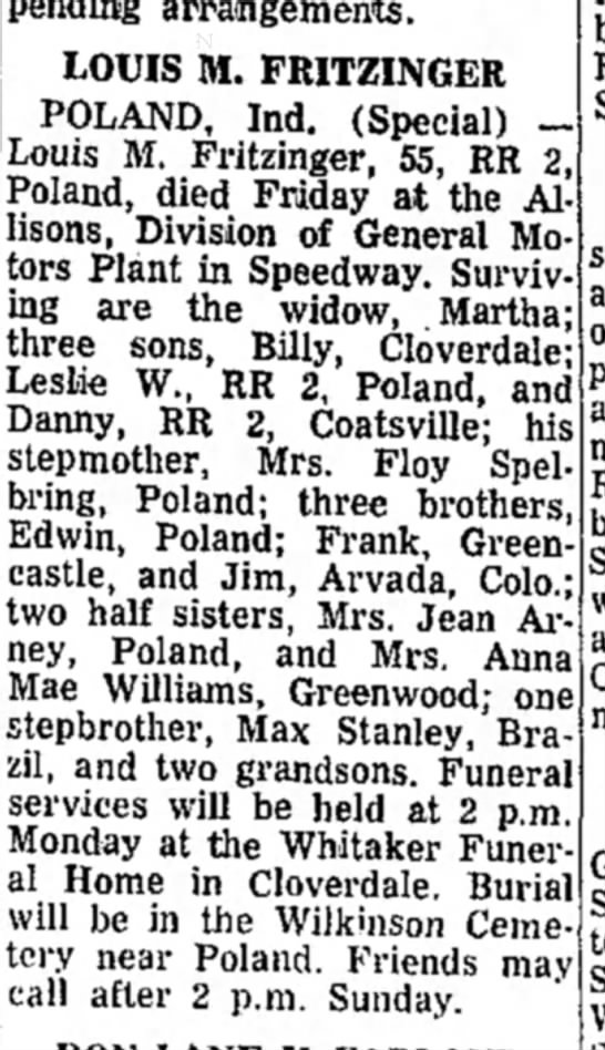 obituary of Louis Fritzinger
