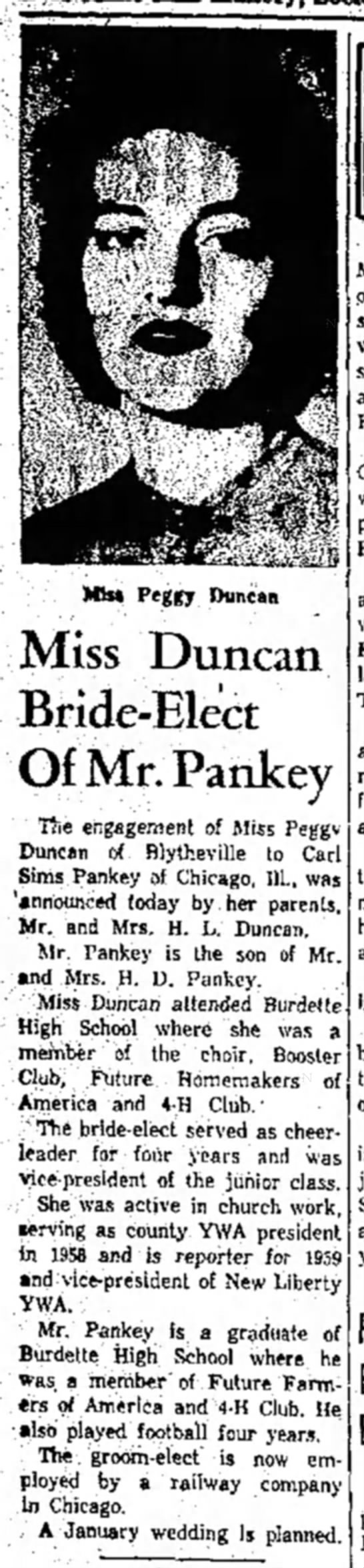 Carl Sims Pankey - Mb* Peggy Duncan Miss Duncan Bride-Elect Of Mr....