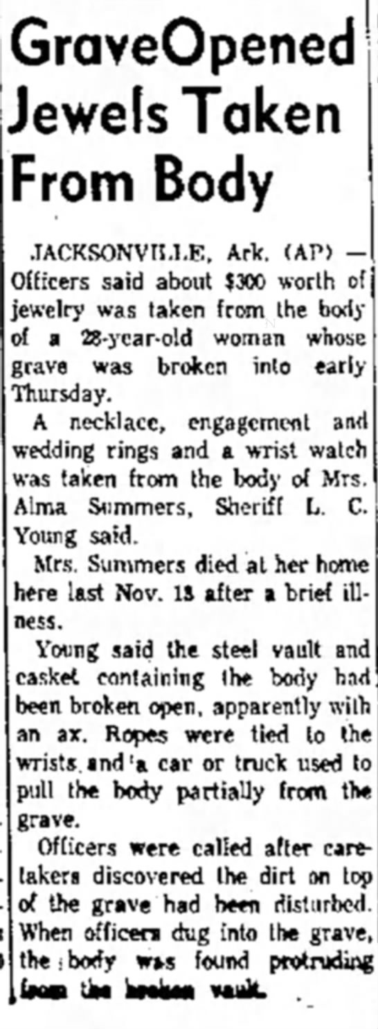 The Courier News - Jan 6 1961 - Alma Summers - GraveOpened Jewels Taken From Body...