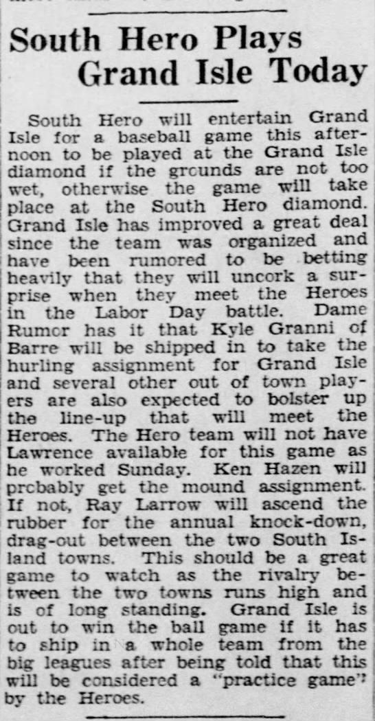 7 Sep 1931 - South Hero Plays Grand Isle Today South Hero...