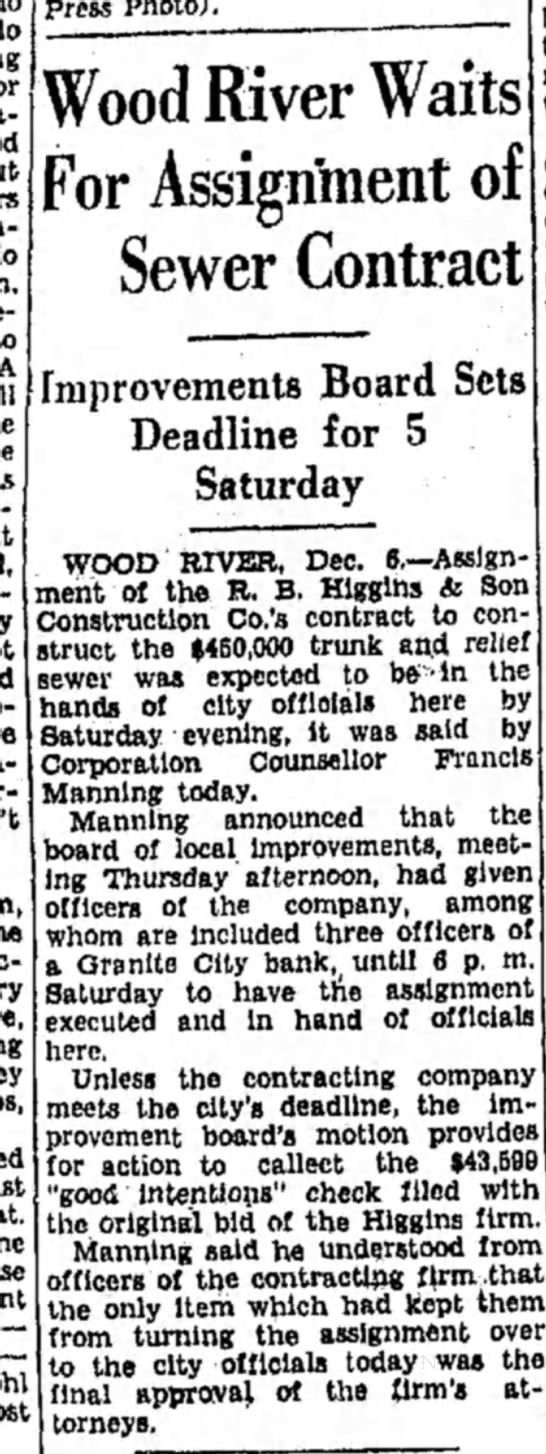 F Manning - - Wood River Waits For Assignment of Sewer...