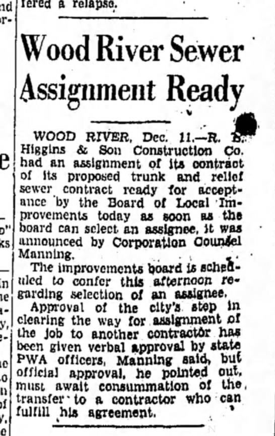 F Manning - suffered a relapse. Wood River Sewer Assignment...