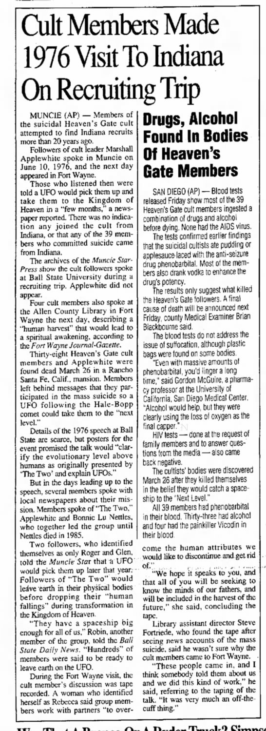 Steve Fortriede, Logansport Pharos-Tribune (logansport, IN) Sun. Apr 6, 1997, p.5 - Cult Members Made 1976 Visit To Indiana ting...
