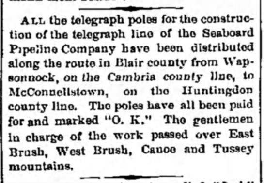 1878 Telegraph in Blair & Huntingdon counties, PA - AM. the telegraph poles for the construction...