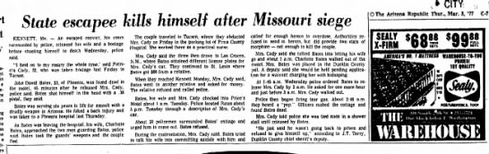 Mar 03 1977 John David Bates - State escapee kills himself after Missouri...