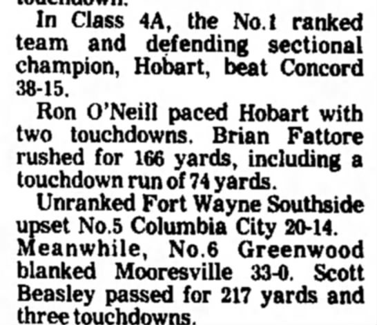 Ron O'Neill Hobart Football - In Class 4A, the No.l ranked team and defending...