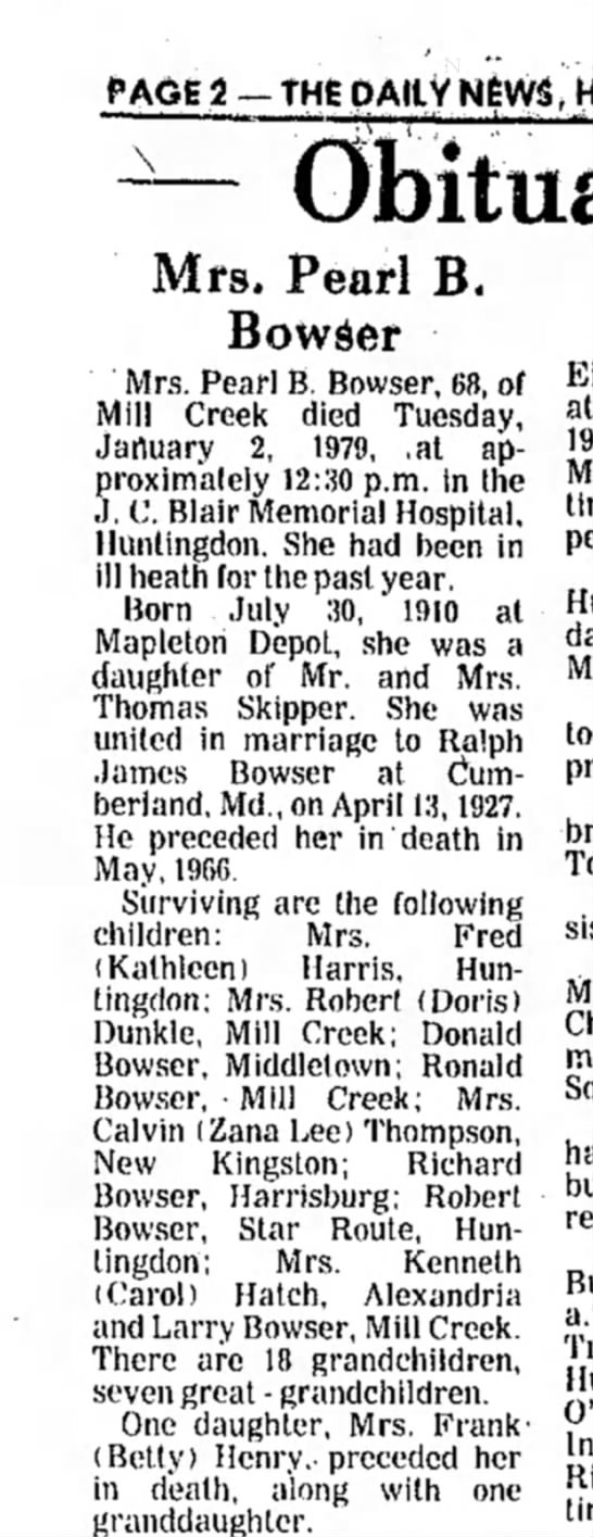 Pearl Skipper Bowser obit-The Daily News-03 Jan 1979 part 1 - PAGE 3 — THE DAILY NJWS, Mrs. Pearl B. Bowser...