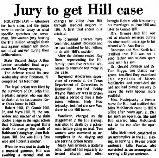 Former nurse says Hill treated McKittrick 1977 - Jury to get Hill case HOUSTON (AP) - Attorneys...