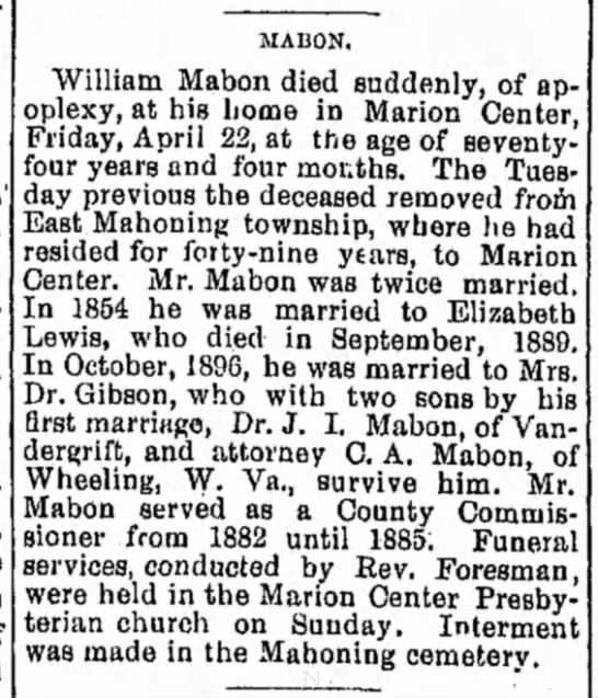 Mabon, William -  Died 22 April 1904, Marion Center, Indiana, PA - MABON. William Mabon died suddenly, of...