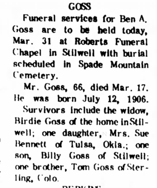 Goss 21 Mar 1973 - GOSS Funeral services for Ben A. Goss are to be...