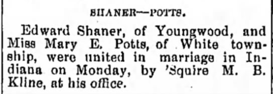 Shaner & Potts 1905 - siiANEn—rorre. Edward Shaner, of Youngwood, and...