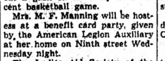 Mrs M F Manning - recent basketball game. Mrs. M. F. Manning will...