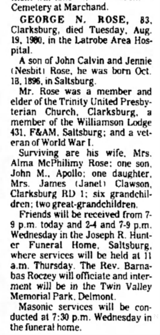- Cemetery at Marchand. GEORGE N. ROSE, 83....