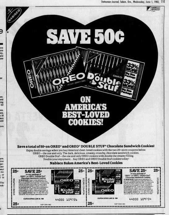 Oreo ad, 1983 - Statesman-Journal, Statesman-Journal,...