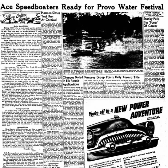 The Sunday Herald (Provo, Utah) July 26 1953 page 9 - Ace Speedboaters Ready for Provo Water Festival...