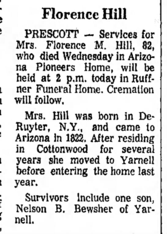 Nelson Bewshers Mom - Florence Hill PRESCOTT — Services for Mrs....