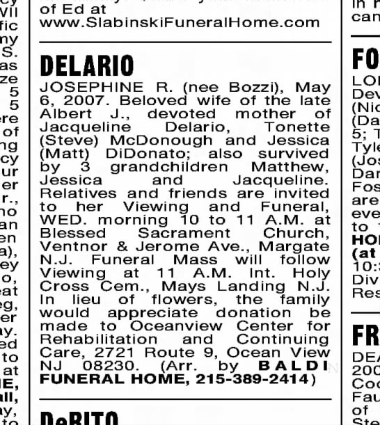 Josephine Delario Death Notice - 5 5 of her Jr., to at to of Ed at...