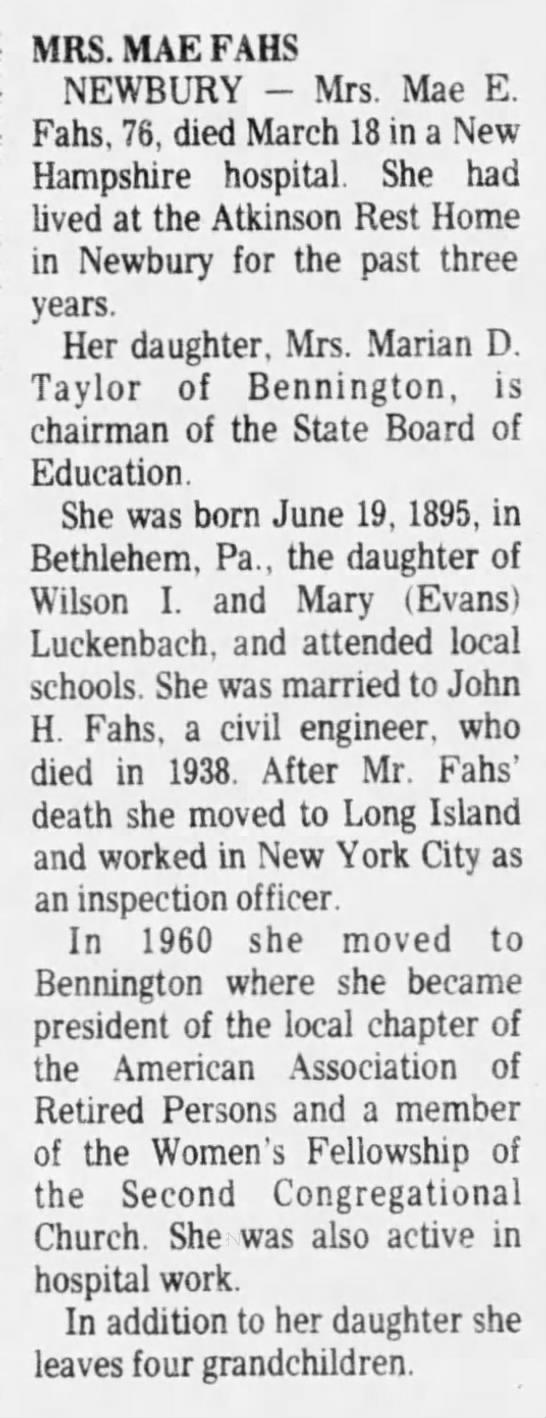 - MRS. MAE FAHS NEWBURY - Mrs. Mae E. Fahs, 76,...