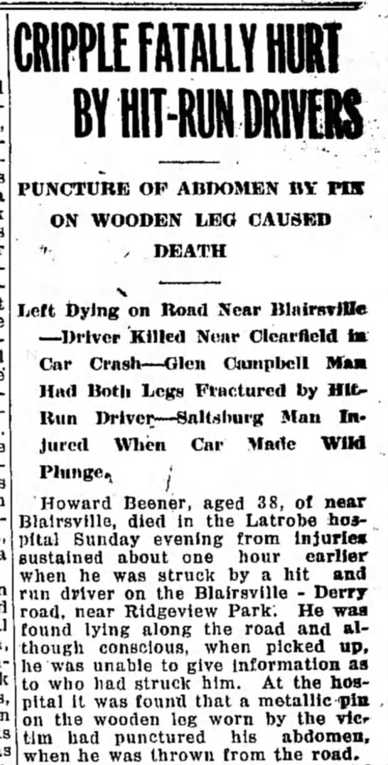 Howard L Beener - CRIPPlf FATALLY HURT BY HIT-RON DRIVERS...