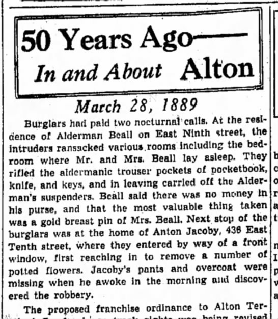 Anton Jacoby March 28, 1939 - 50 Years Ag< In and About Alton Match 28, 1889...