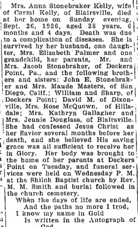 Anna S Kelly obit - j Mrs. Anna Stonebraker Kelly, wife of narmi...