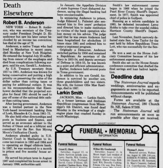 Robert B. Anderson obit_1989 - Death Elsewhere Robert B. Anderson NEW YORK -...