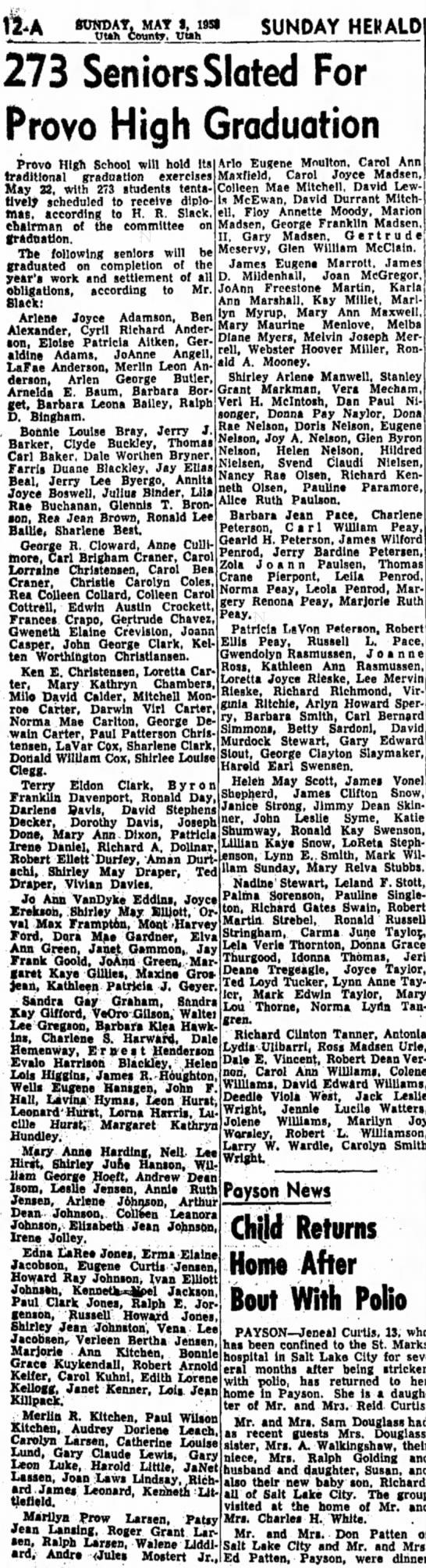 David McEwan, Pat bro. graduates PHS 05-03-1953 - SUNDAY, MAT I, I9Sf W«h County. Utth SUNDAY...
