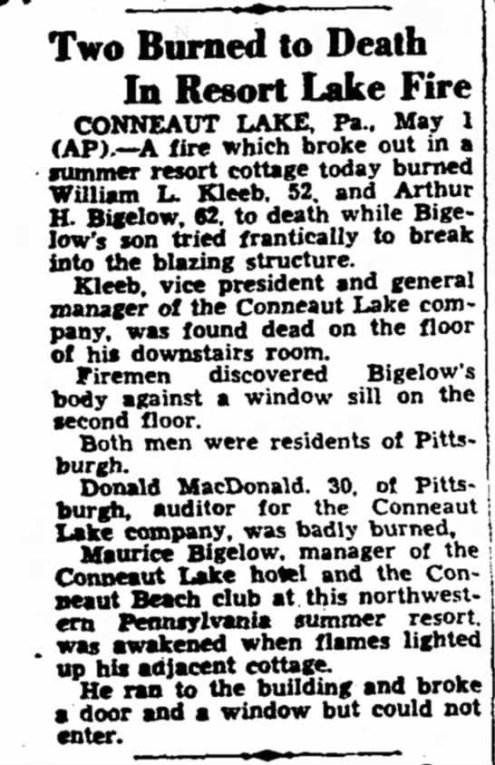 Charleston Daily Mail 5/1/1939 - Two Burned to Death In Resort Lake Fire...