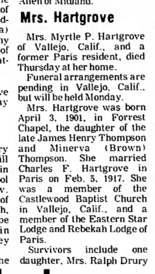 - of in be Mrs. Hartgrove Mrs. Myrtle P....