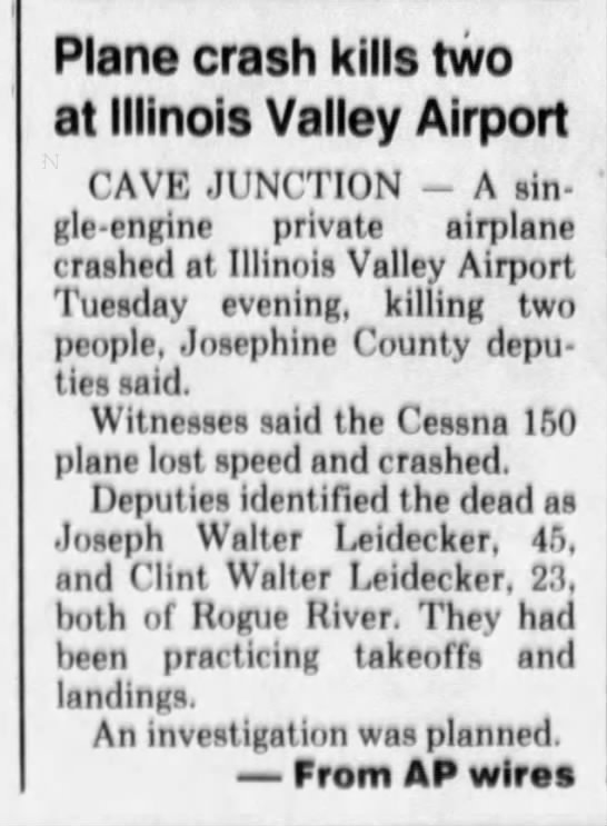 Plane crash kills two - Plane crash kills two at Illinois Valley...