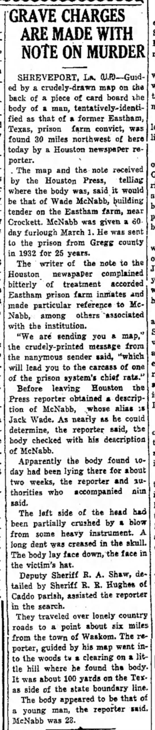 WadeMcNabb_MexiaWeeklyHerald_6Apr1934 - GRAVE CHARGES ARE MADE WITH NOTE ON MURDER...