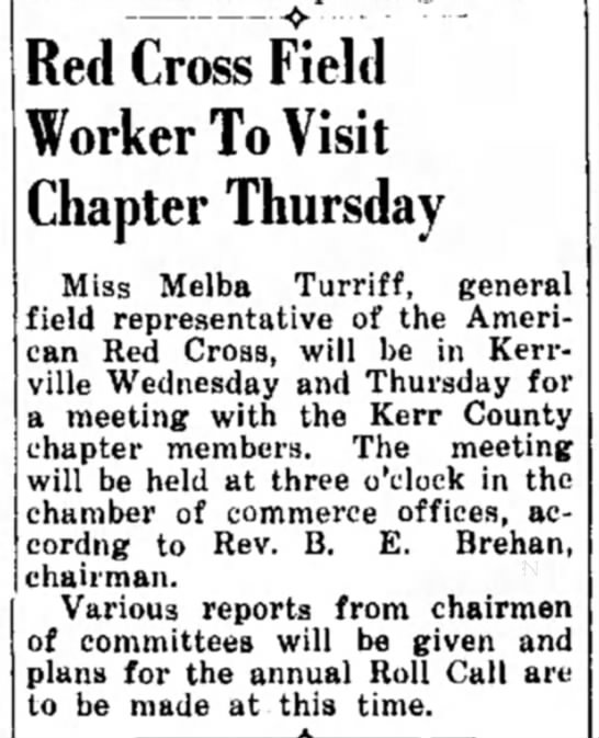 Melba Turriff - « Red Cross Field Worker To Visit Chapter...