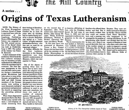 Lutheran Church in Texas - A series Origins of Texas Lutheranism NOTE: The...