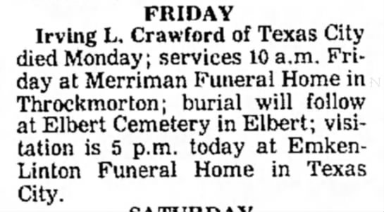 - FRIDAY Irving L. Crawford of Texas City died...