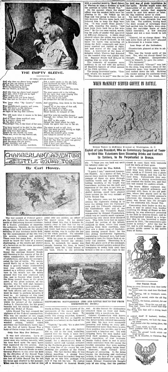 Little Round Top; The Indiana Democrat, Indiana, Pennsylvania Wednesday May 26, 1909 - BY PUILA BUTLER BOWMA.Y. with a penciled wttd...
