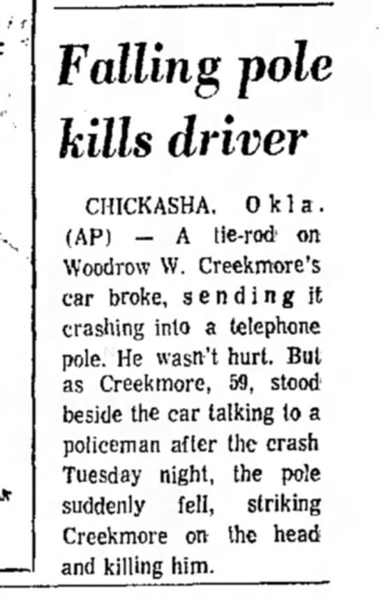 Arizona Republic, Phoenix, AZ 1 July 1976  - Falling pole kills driver CHICKASHA. 0 k 1 a ....