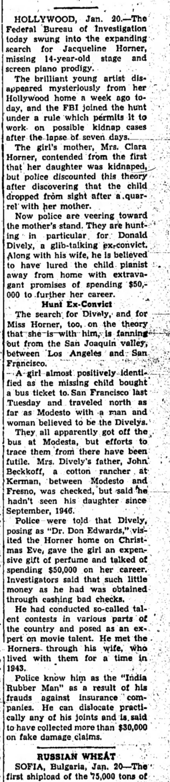 Donald R Dively CA in trouble again 1948 - HOLLYWOOD, Jan. 20.—The Federal Bureau of...