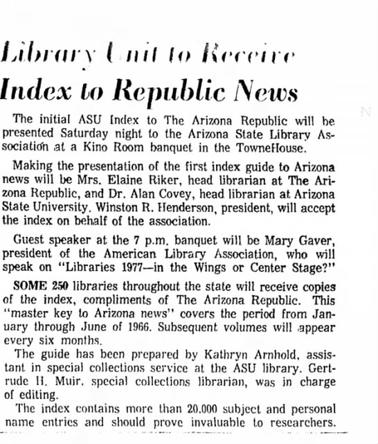 Elaine Riker Arizona Republic - v (.nil lo Index lo Republic News The initial...
