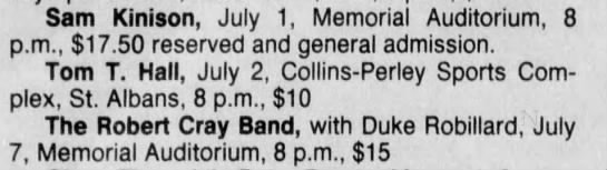 Jun 16 1988 - Concert Schedule - Sam Kinison, July 1, Memorial Auditorium, 8...