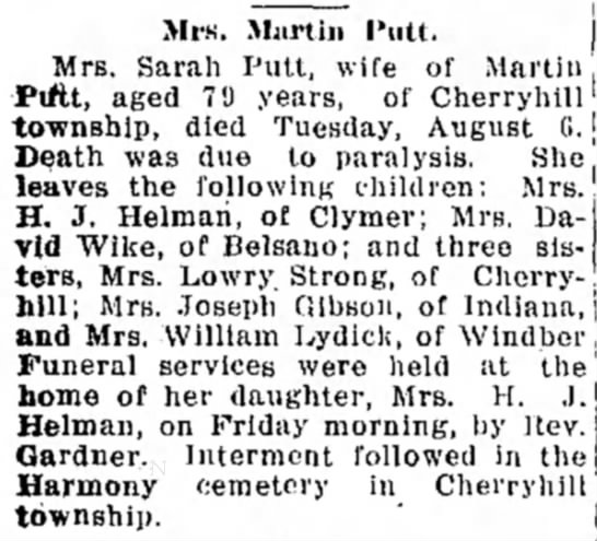 Sarah Shank Putt - Mrs. M;iitin 1'iitt, | Mrs. Sarah Putt, wife of...